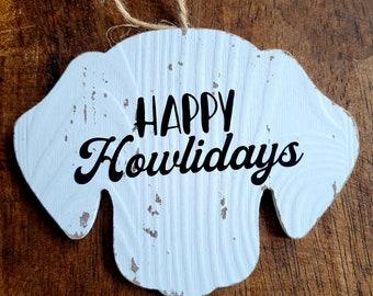 Happy Howlidays Hanging Hound Dog Shaped Wood Ornament