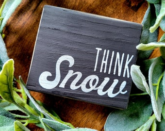 Think Snow 4 x 3.5 Reclaimed Hand Painted Distressed Farmhouse Rustic Wood Block Tiered Tray Shelf Filler