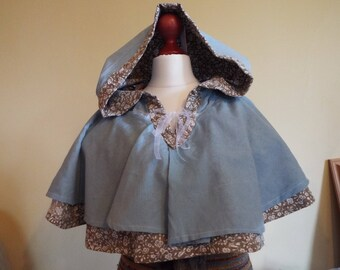Whimsical Blue Capelet OOAK Ice Elf Elegant Playful Fairy long hood womens girls hooded cape cloak upcycled/recylced ethical eco-friendly