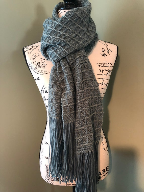 Grey Shawl Handwoven Scarf College Student Gift Womens Etsy