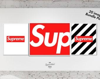 Supreme Box Logo Set Of 3 Prints Kicks Sneaker Poster Art Print Work Wall Hype Beast Urban