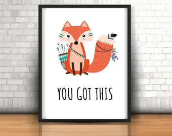 Wall Art Print, Instant Download, Digital Print, Printable, Motivational Quote, You got this, Printable Art, Home Decor,