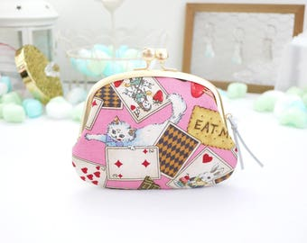 Calico of alice rabbit cat clasp frame pouch Six layers three wallet