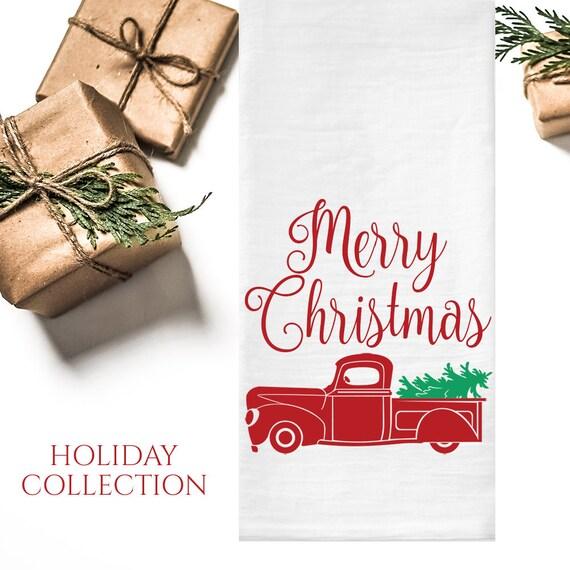 image 0 - Tea Towel Old Fashioned Christmas Tea Towel Flour Sack Tea Etsy