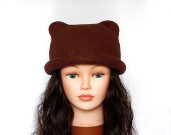 34492871f23 Coffee brown hat Cat ears wool Felted Unusual Animal woolen Funny gift  Funky spring Original Great wool gift idea eco friendly