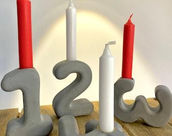 Advent wreath, concrete, numbers 1-4