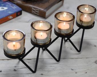 Black Stylish Tealight Holders   Iron Votive Candle Holders    Glass Tea light Holder   Dining Table Candle Holder Centerpiece