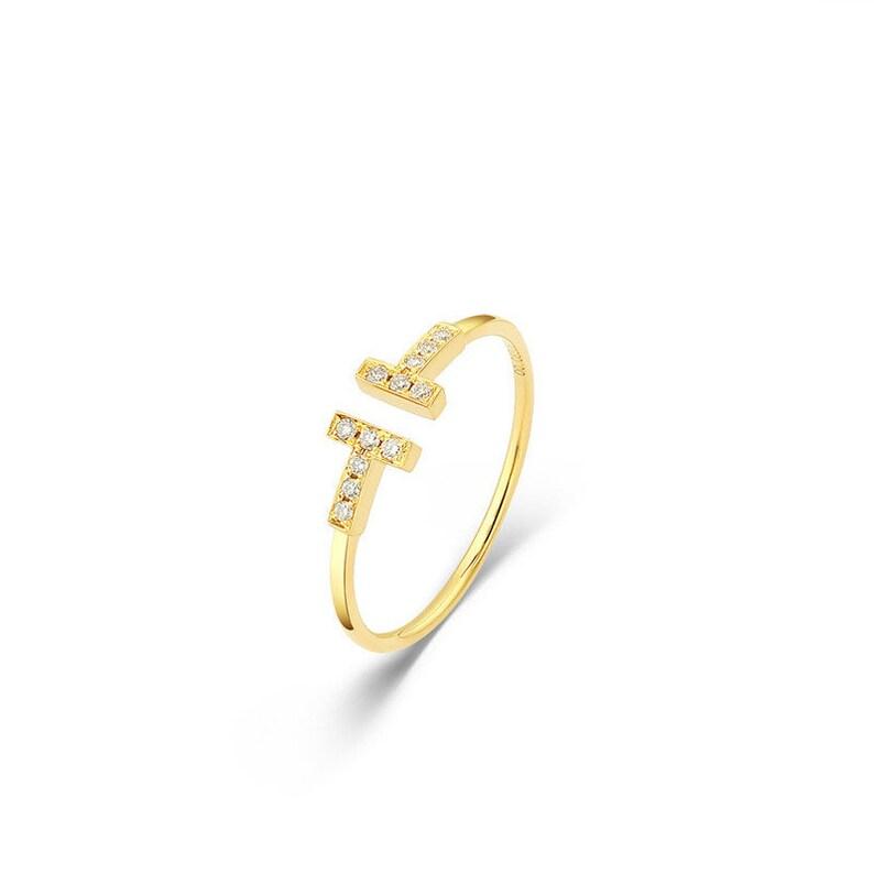 gift ring engagement ring 18K yellow gold diamond ring 0.08ct cocktail ring statement ring