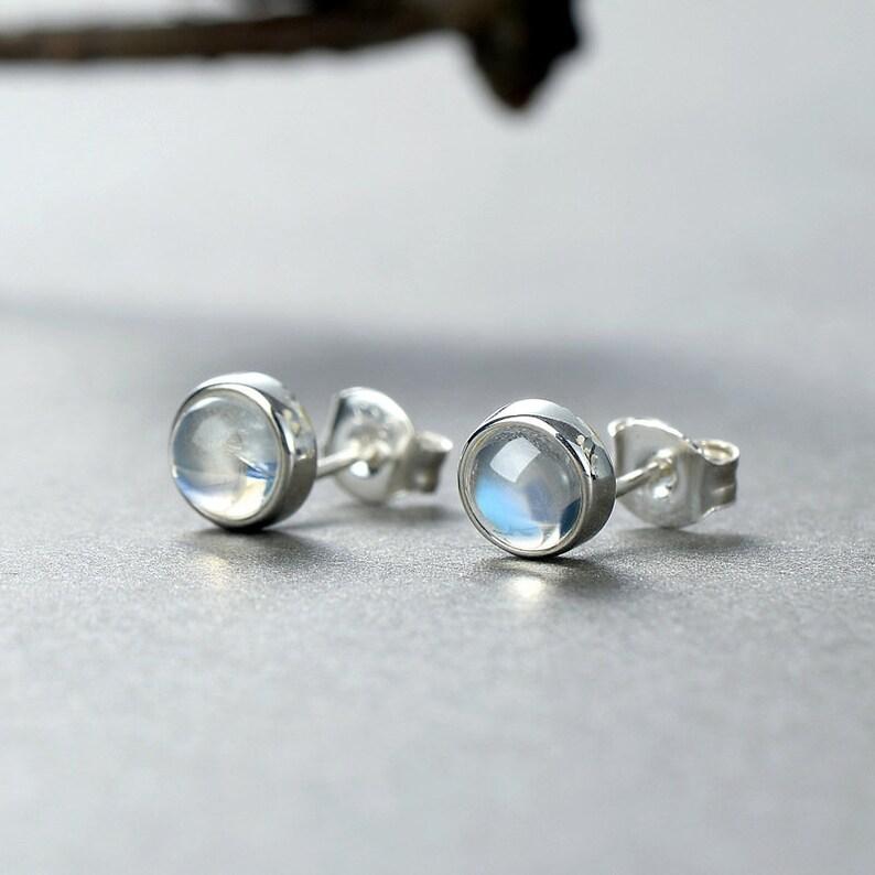 Rainbow Moonstone Earrings Tiny Stud Moonstone Stud Earrings Sterling Silver Earrings
