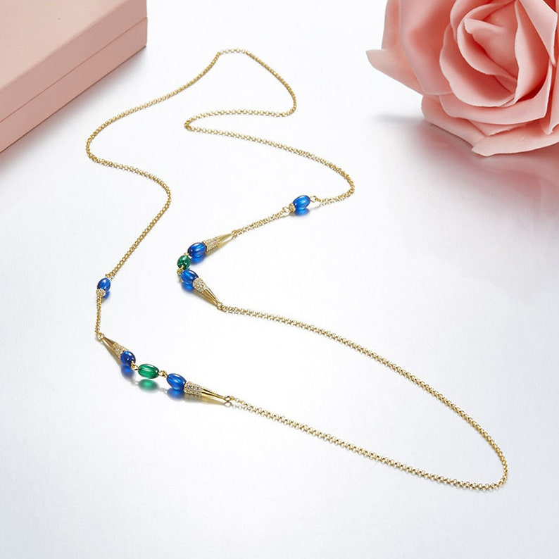 Women Jewelry cubic zircon 925 Sterling Silver Blue Stone CZ candy long chain necklace Jewelry for her Green gems handmade necklace