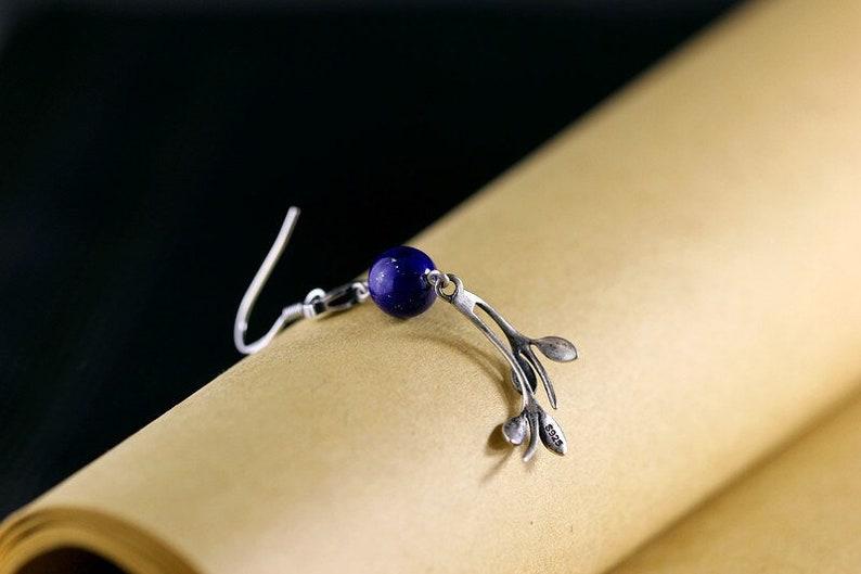 Bird earrings Natural gemstone S925 Silver earring Blue Lapis drop earring gift for her Leaf earring Bridesmaid statement earrings
