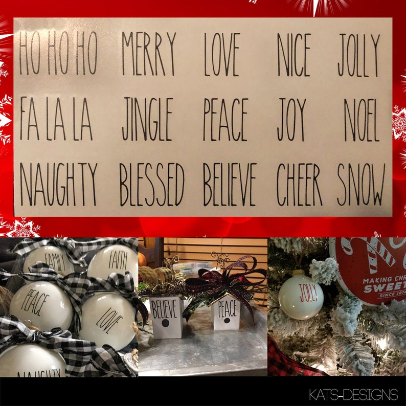 Christmas Rae Dunn Inspired Decals  Choice of Words  TWO image 0
