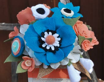 Felt flower arrangement in painted reclaimed wood box