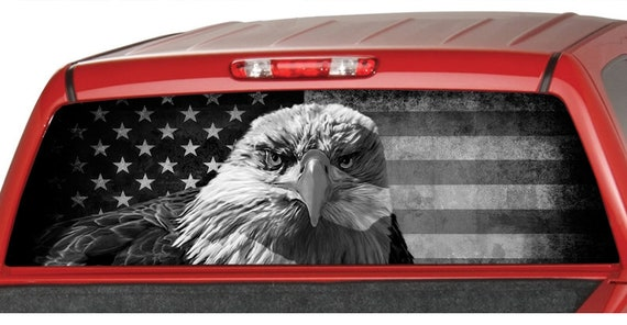 AMERICAN EAGLE B//W Flag banner Rear Window PERFORATED Decal Tint Sticker Truck