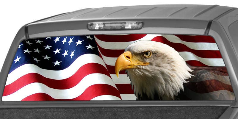 American Eagle Flag Stars Rear Window Graphic Decal Tint