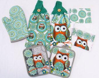 Superbe 7 Piece Owl Kitchen Towel Set   Crochet Top