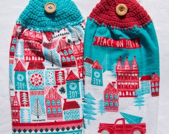 Christmas Village Kitchen Towel - Crochet Top