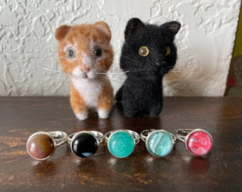 Hand Painted Alcohol Ink or Acrylic One-of-a-kind Art  Semi-Precious Stone Jewelry in Brass Settings NEW ADJUSTABLE RINGS