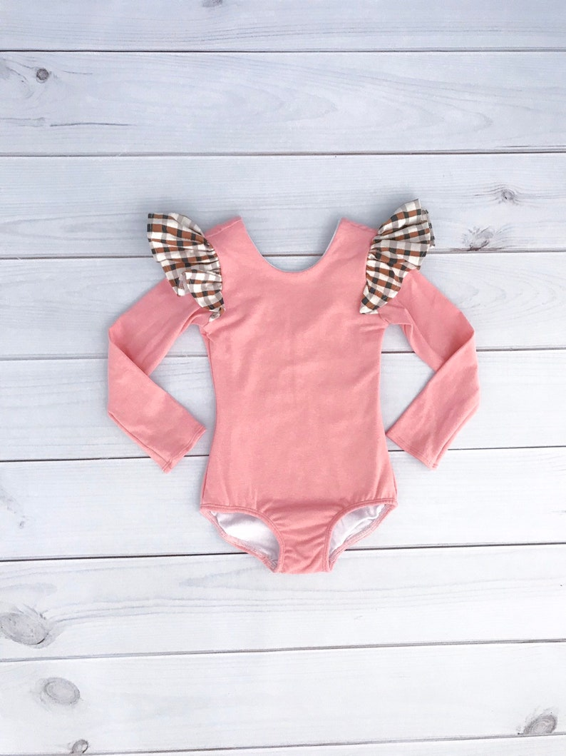 38a14b8d484 Baby girl toddler kid dusty rose pink plaid sleeve floral