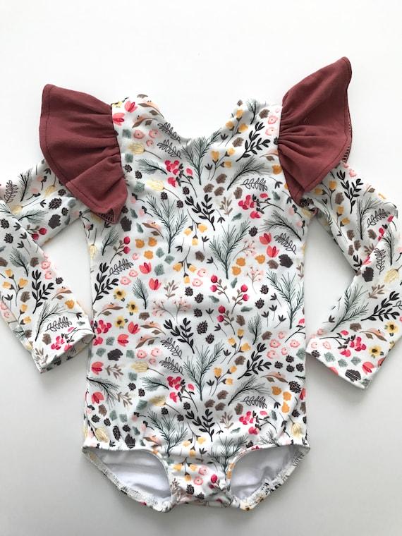 aa32a35e5 white floral flutter sleeve leotard baby toddler girl leotard