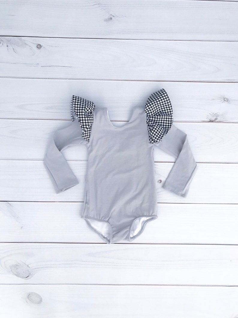 22c08fbced2 Baby girl toddler kid grey plaid leotard with flutter sleeve