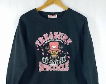 Vintage ONE PIECE Sweatshirt//Tony Tony Chopper// Wanted!! Treasure Spectacles// Big Tony Garffiti// Size M// Anime Manga Japan