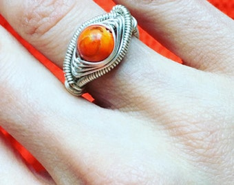Orange Jasper Wire Wrapped Ring