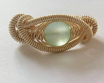 Green Seaglass Wire Wrapped Ring