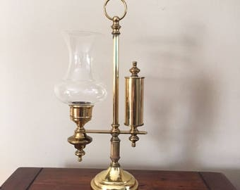 Vintage Brass Tone Candleholder, Vintage Student Lamp, Vintage Brass Decor, Vintage Home Decor