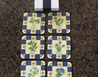 Vintage Pimpernel Coasters Herbs, Vintage Home Decor, Vintage Drinkware