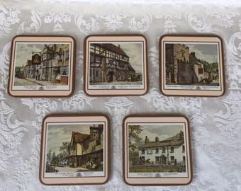 "Vintage Pimpernel Coasters ""Old English Inns"", Vintage Coasters, Vintage Drinkware, Vintage Home Decor"
