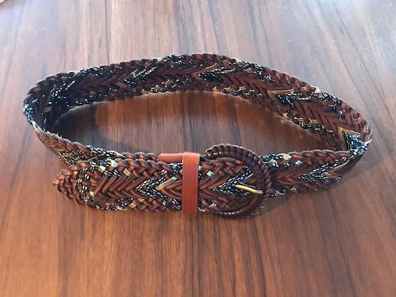 Vintage Leather Belt, Braided Leather Belt, Made i