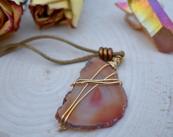 Orange Agate Wire-Wrapped Necklace