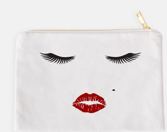 Eyelashes Cosmetic Pouch, Eyelashes Makeup Case, Makeup Organizer, Lips Cosmetic Pouch, Wedding Gift, Mom Gift, Gift For Her, Red Lips Case