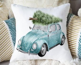 Christmas Pillow, Car Pillow, Vintage Truck Pillow, Red Truck Pillow, Farmhouse Pillow, Farmhouse Christmas Pillow, Tree Pillow, VW Pillow