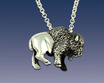 Bison Pendant Necklace - Buffalo Pendant Necklace - Sterling Silver Bison - Bison Jewelry - Buffalo Jewelry - Wild Life Jewelry