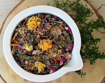 PMS Remedy Organic Loose Herbal Tea.. Calendula/Rose Petal/Dandelion/Red Clover/St Johns Wort/White Cover....