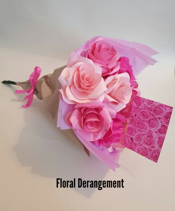 Hot Pink Roses Paper Flower Bouquet Valentine S Day Etsy