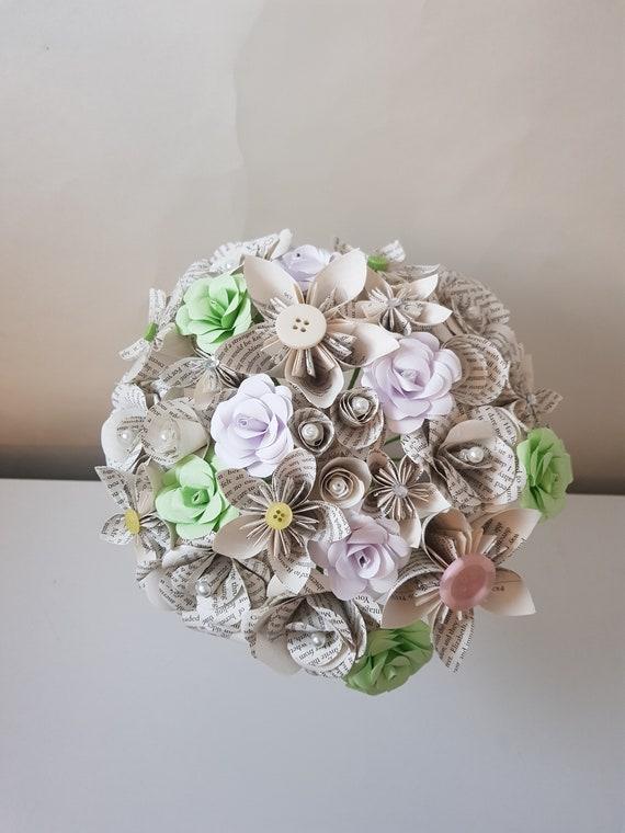 Book Flowers Literary Wedding Flower Bridal Bouquet Paper Etsy