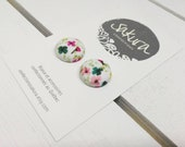 Fabric earrings - studs - floral accessory - minimalist jewelry - spring summer Collection - made in Quebec