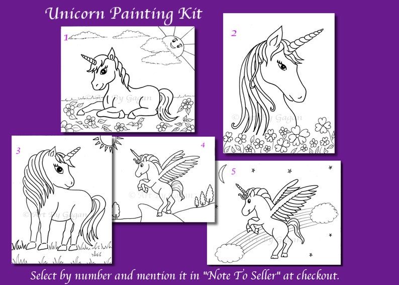 Pre-drawn outlined Canvas Unicorn,Paint your own Unicorn, DIY Paint  kit,Kids paint party,Unicorn art party favors,Unicorn themed Paint party