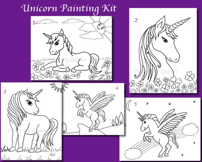 Pre-drawn Canvas Unicorn,Paint your own Unicorn, DIY Paint kit,Kids paint  party,Unicorn art party favors,Unicorn themed Paint party canvas