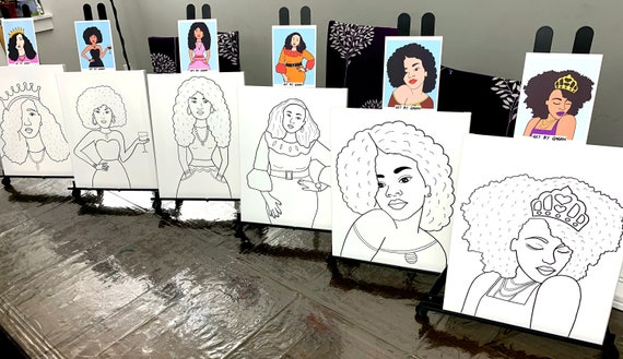 DIY Paint Party  Pre-Sketched  Art Party Ms Cheeks  Pre-drawn  Outline Canvas Teen  Adult Painting  African  Paint /& Sip