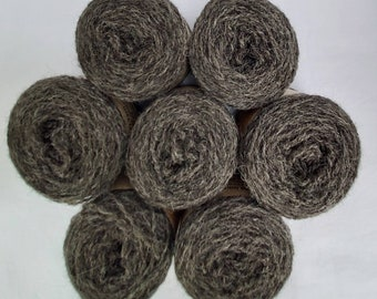 Natural undyed dark grey Shetland wool, grown/spun in Shetland, ideal for Fairisle knitting and other colour work. Available in 25g balls.