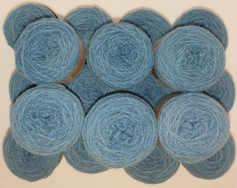 Indigo naturally dyed Shetland wool, ideal for Fairisle knitting and other colour work. Available in 25g balls. Various shades in dye lots.
