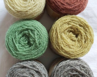 Six pack of naturally dyed Shetland wool, ideal for Fairisle knitting and other colour work. 25g balls. Great for hats, gloves etc.