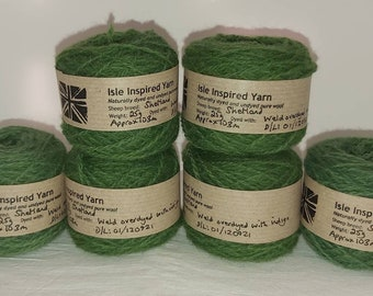 Naturally dyed Shetland wool, ideal for Fairisle knitting and other colour work. Available in 25g balls. Various shades in dye lots.