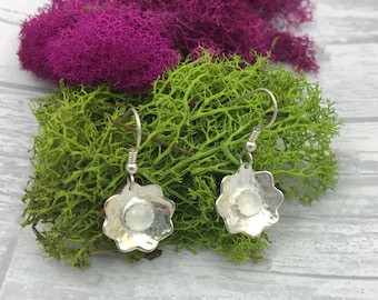 Moonstone and Sterling Silver earrings - Woodland Flower jewelry with moonstone - moonstone jewelry