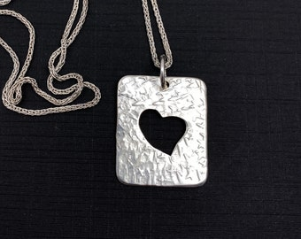 Hand pierced and hammered heart pendant - Sterling silver negative space heart pendant