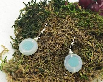 Quartz Druzy Earrings - Aqua Quartz Druzy earrings - Aqua shimmery earrings - summer earrings